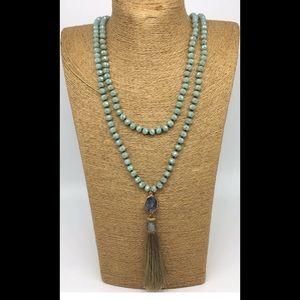 Boho knotted crystal druzzy tassel necklace Boho